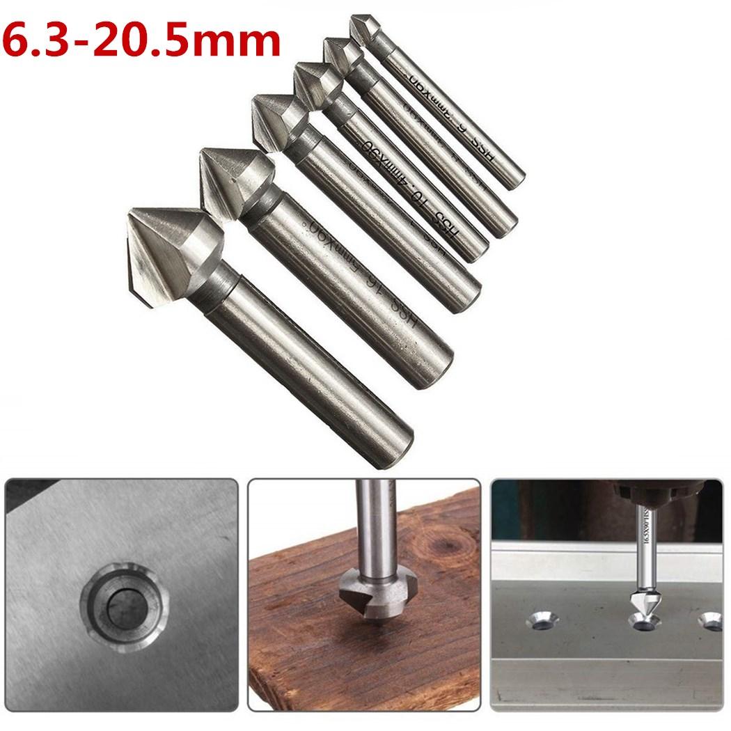 6 Stk.HSS Kegelsenker Senker Senkbohrer Versenker Set Holz Metall 6,3-20,5mm 90°