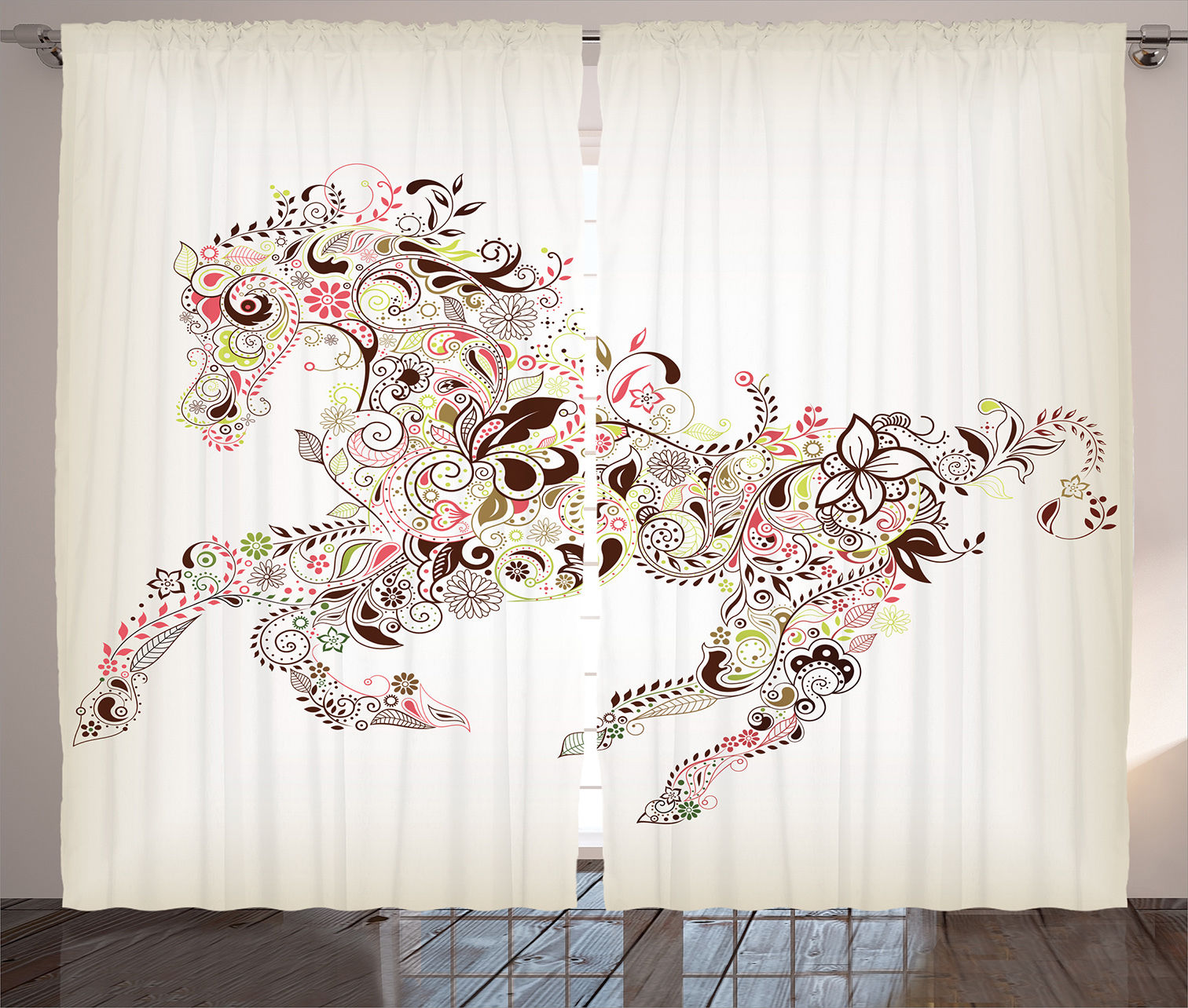 Curtains Bedroom Floral Horse Spring White Art Decor 2