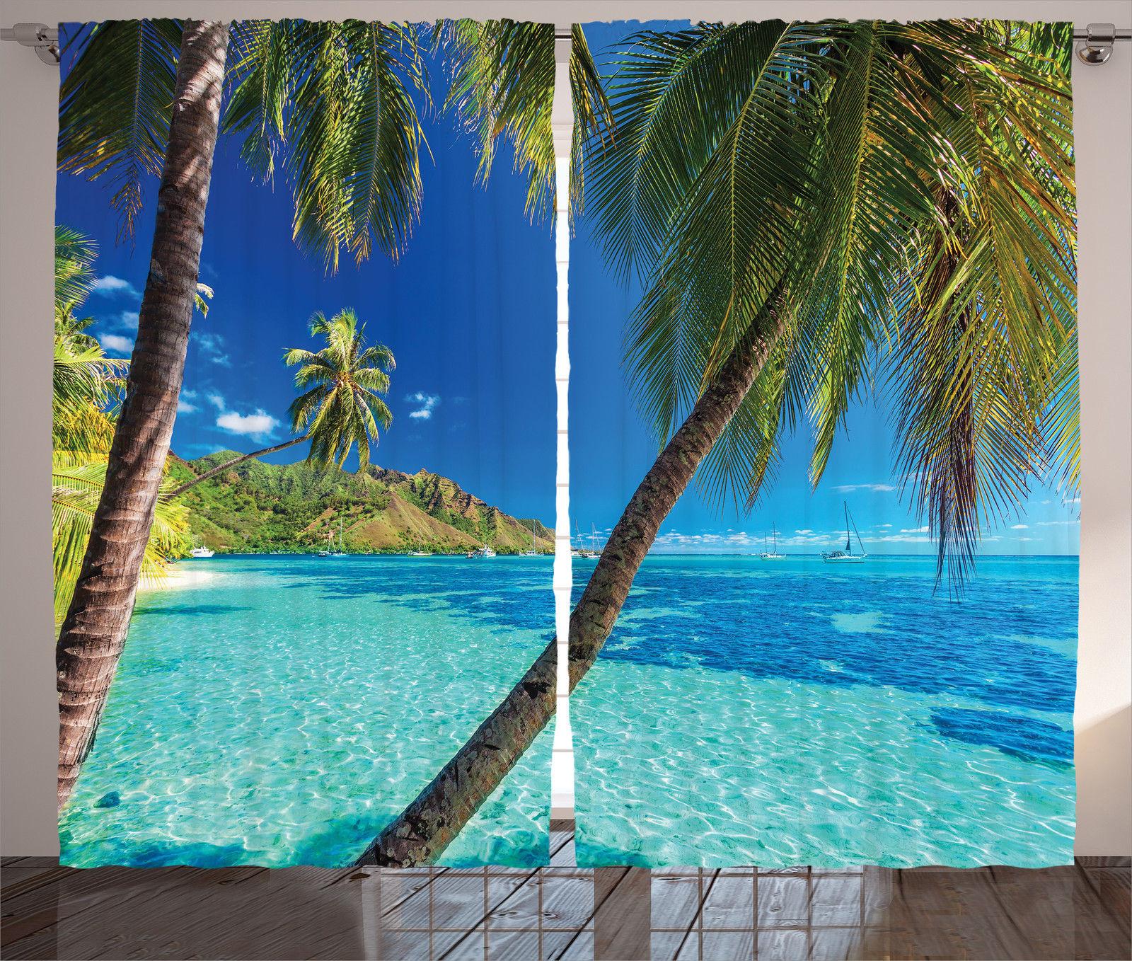 Palm Tree Island: Image Of A Tropical Island With Palm Trees Beach Print