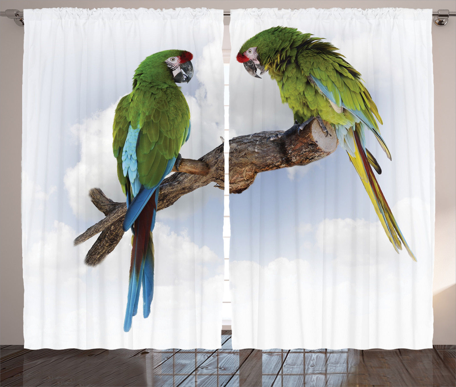 Macaw Parrots On Branch Talking Bird Tropical Nature Print