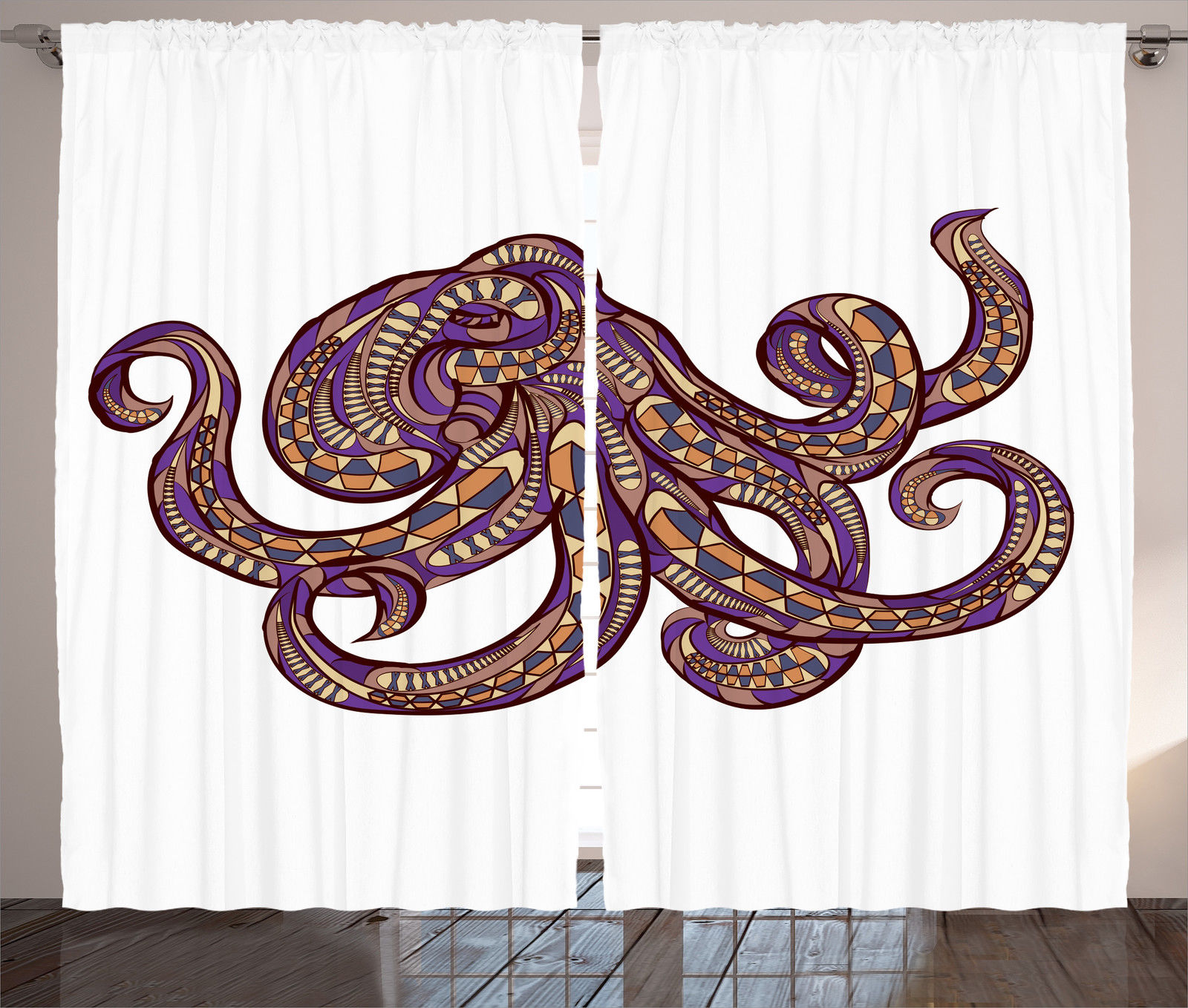 Octopus Illustration And Ethnic Pattern Tribal Style Print