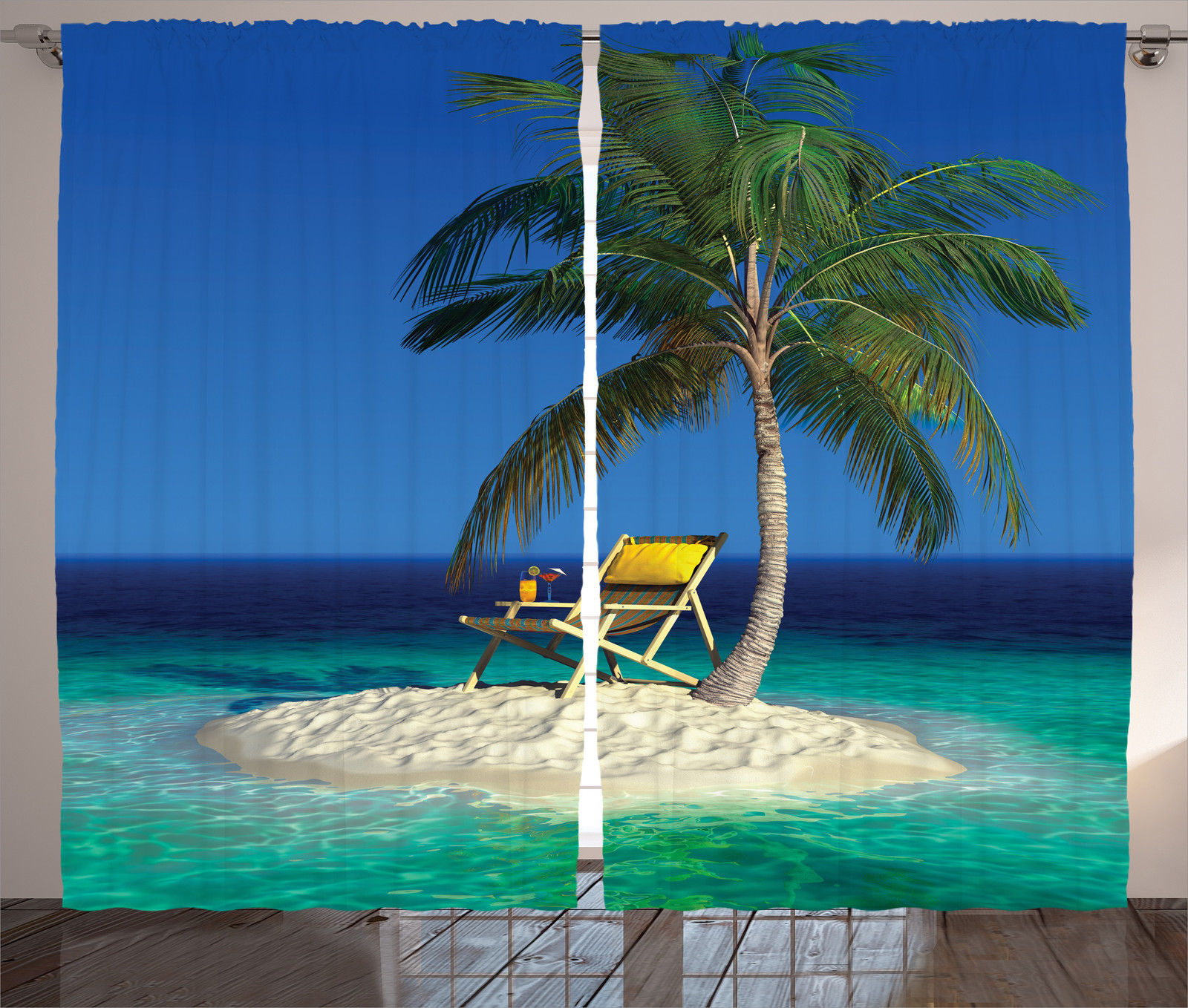 Palm Tree Island: Chair Under Palm Tree On A Tropical Island In Ocean Photo