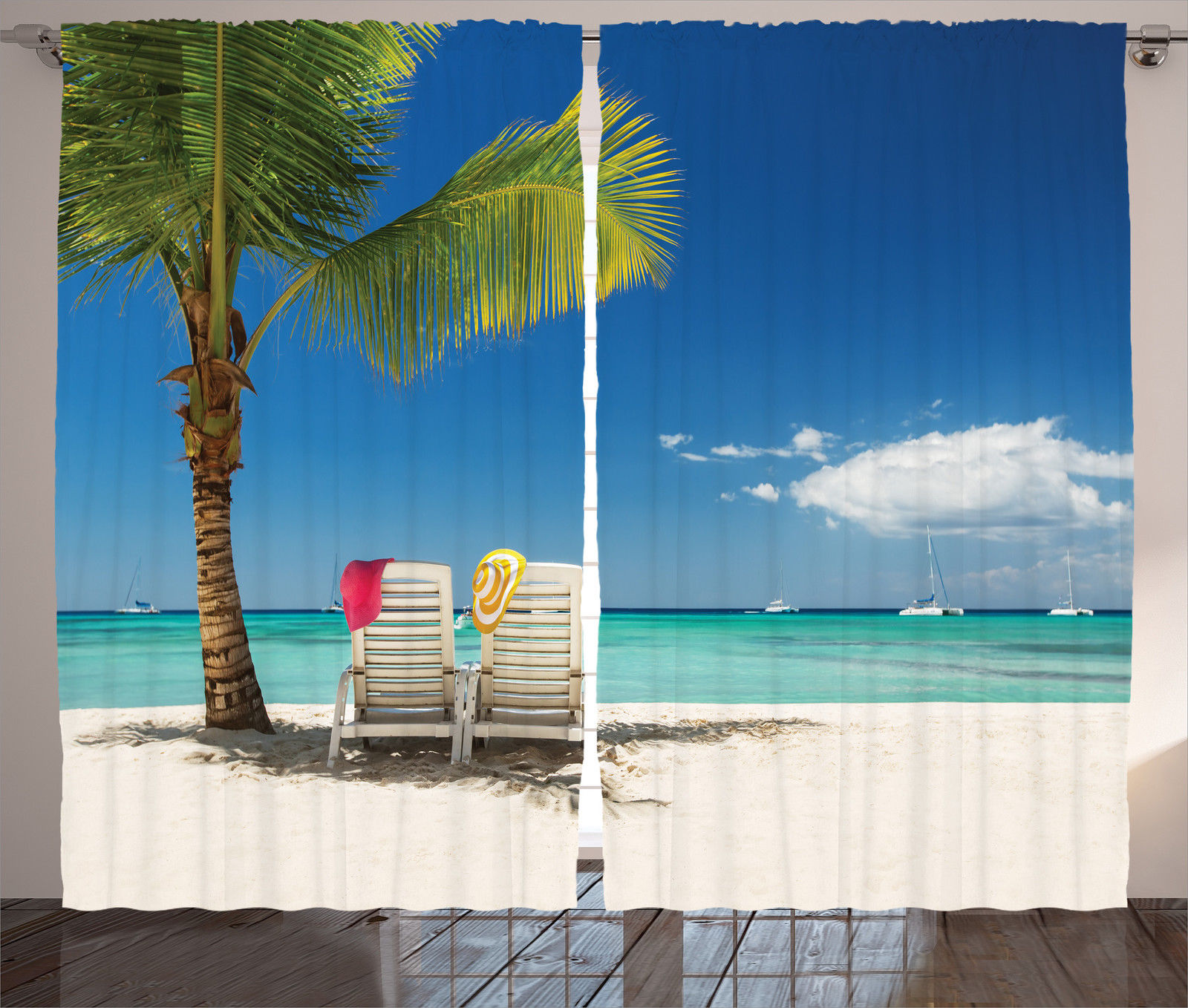 Palm Tree Beach: Remote Beach With Palm Tree Chairs And Boats Theme Picture