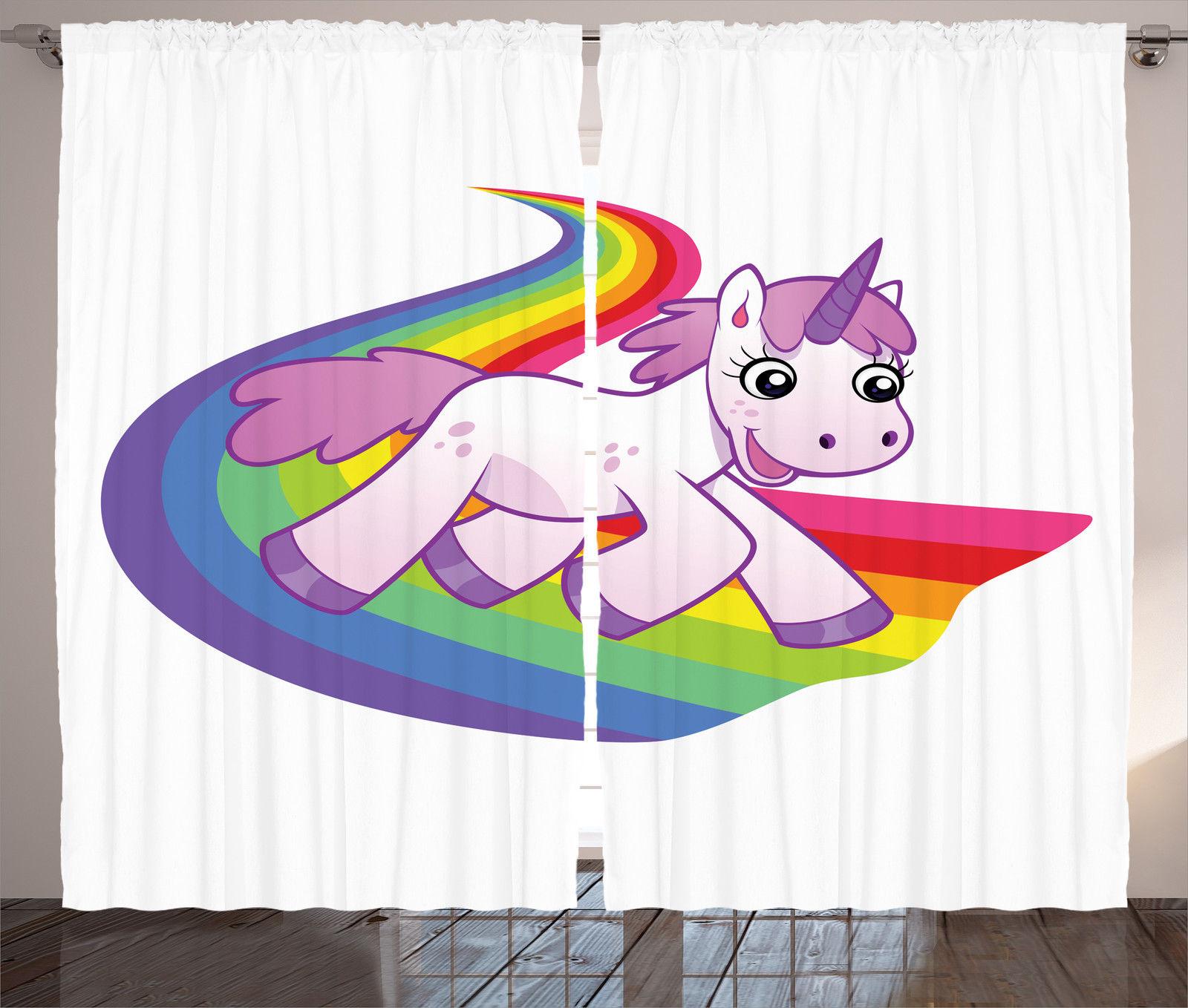 Baby Unicorn on Rainbow Fantasy Creature with Horn Print ...