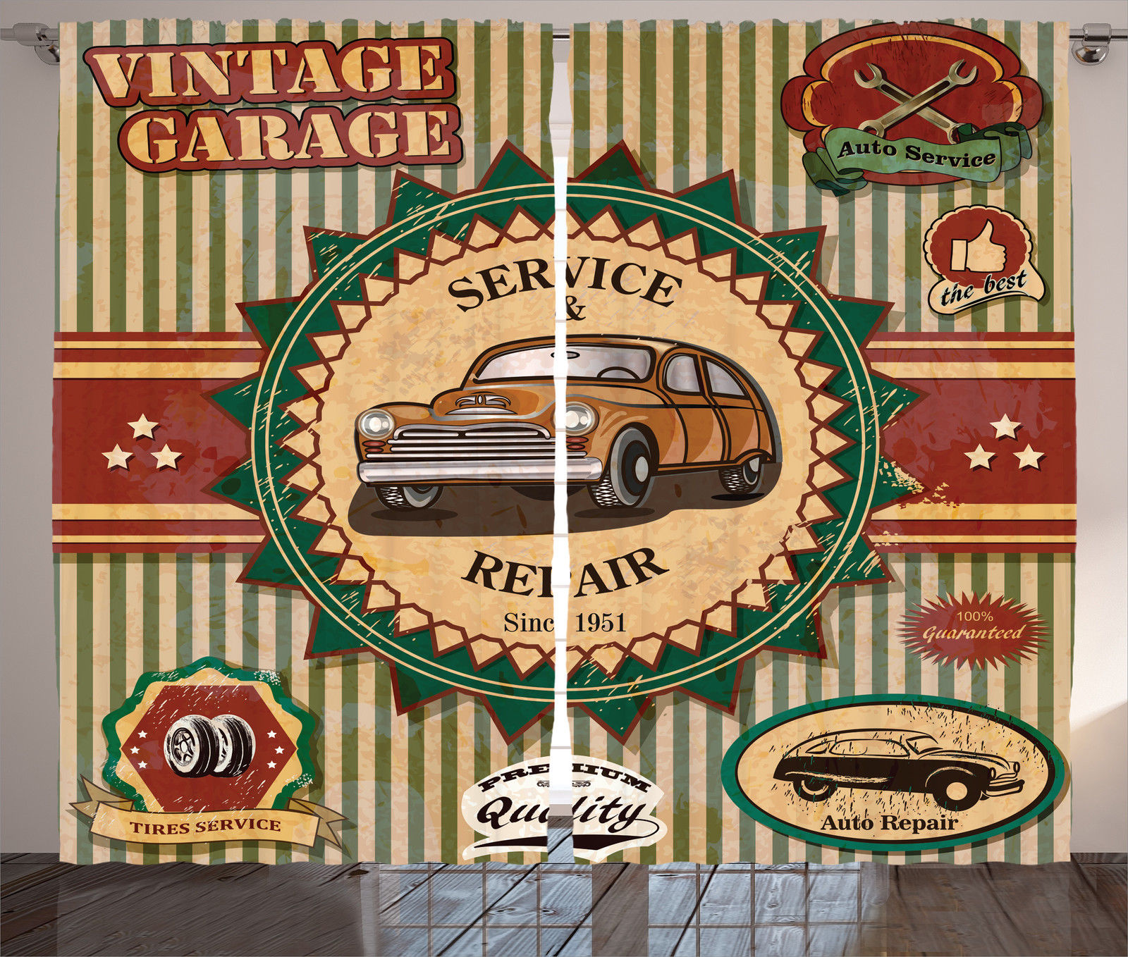 Vintage Garage Theme Old Car Repair Labels Retro