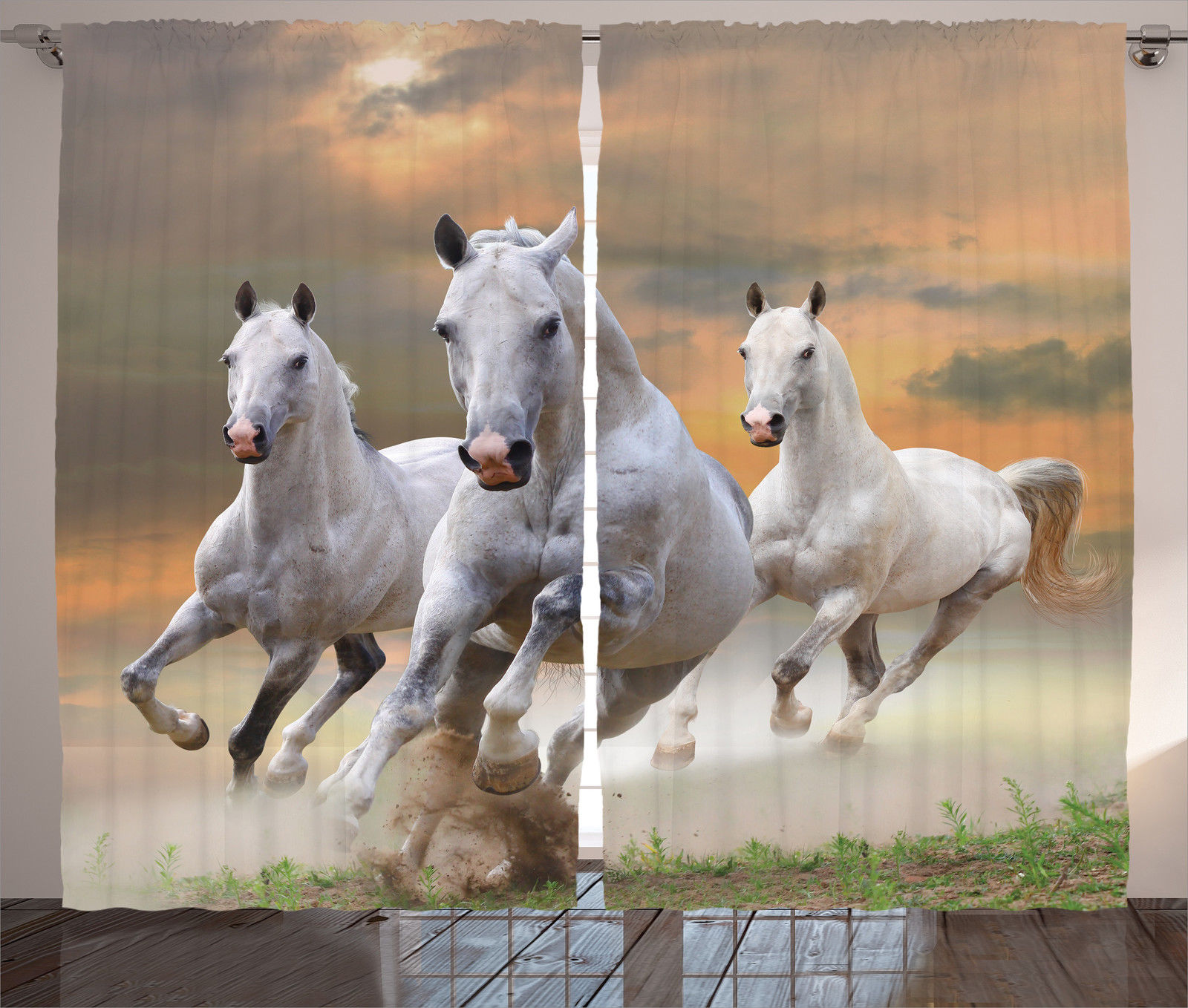 Curtains Horse Wild Life Themed Sunset Animal Decor 2 ...