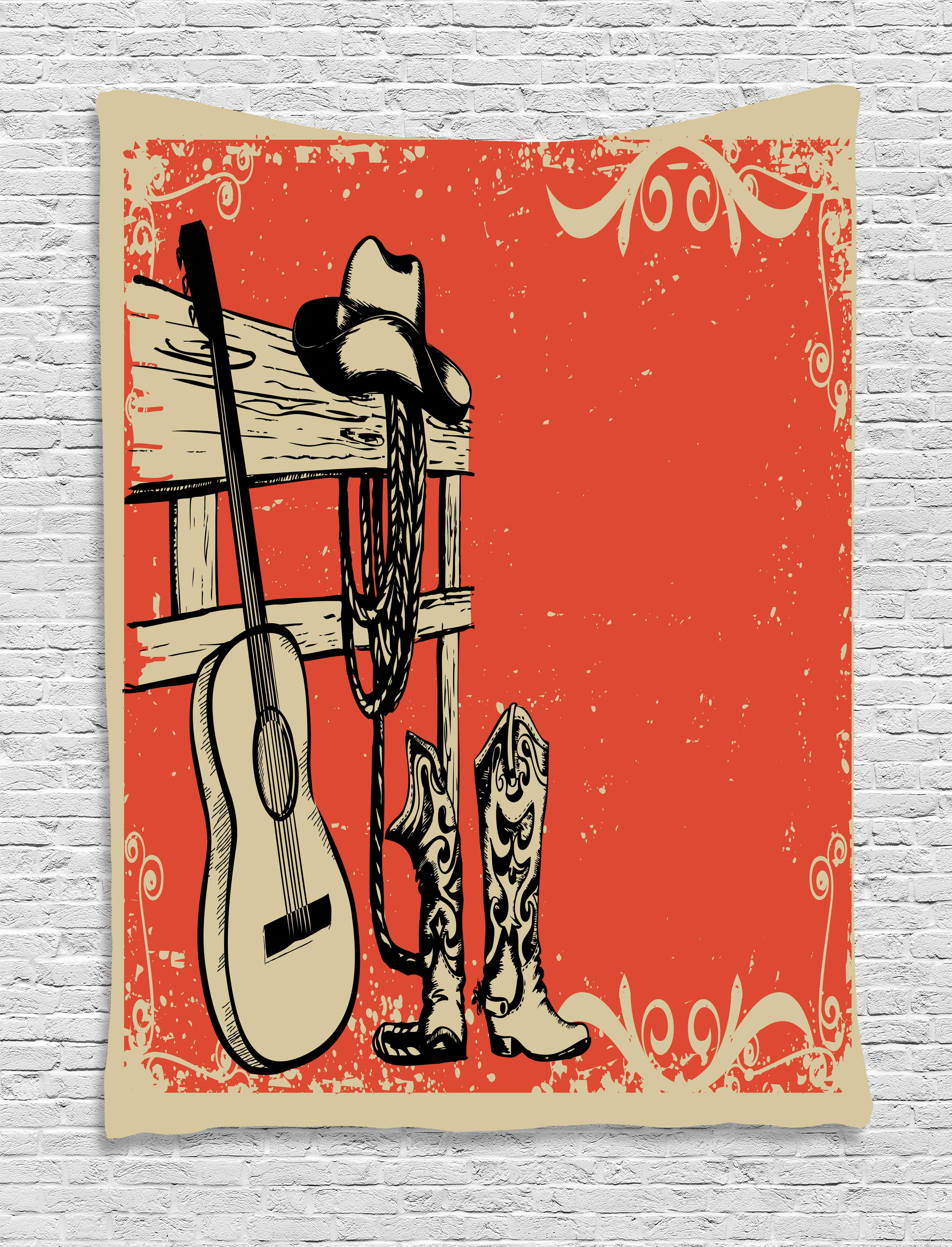 Wild West Theme Country Music Guitar and Cowboy Boots Art ...