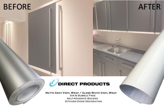 High Gloss Matt Vinyl Wrap Kitchen Cabinet Bedroom Furniture Air
