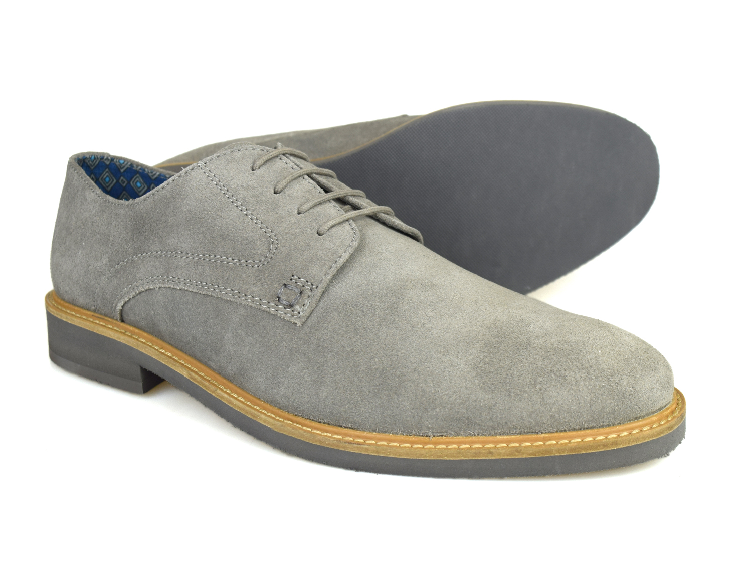 Silver Street Lime Mens Grey Suede