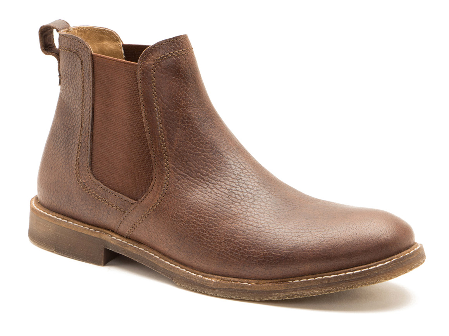 10fcfc643b91 This is a fantastic rugged pair of chelsea boots from Red Tape. They have a  great modern look in this milled leather with the white stitching details.