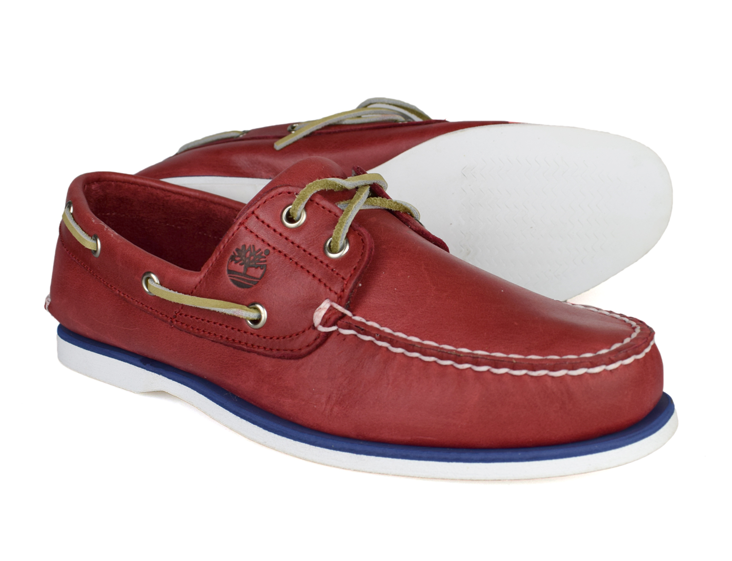a601ee1e82f0 Timberland Classic 2 Eye Mens Red Leather Lace Up Boat Shoes 6829B ...