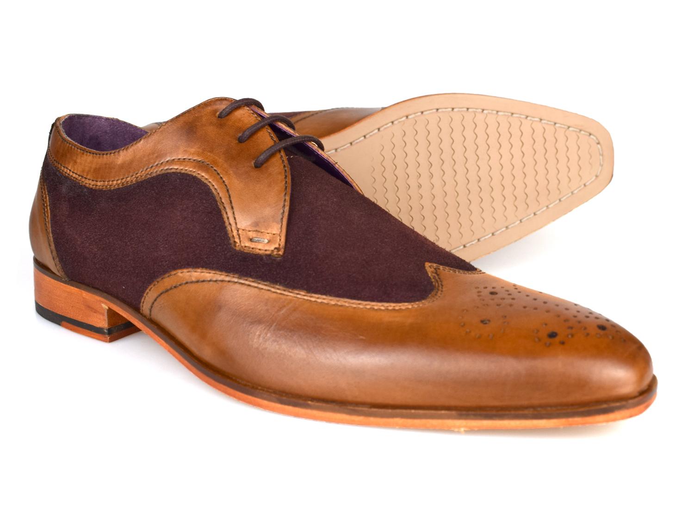 Gucinari Lansky Tan & Brown Leather Formal Brogue Shoes AMP16-1