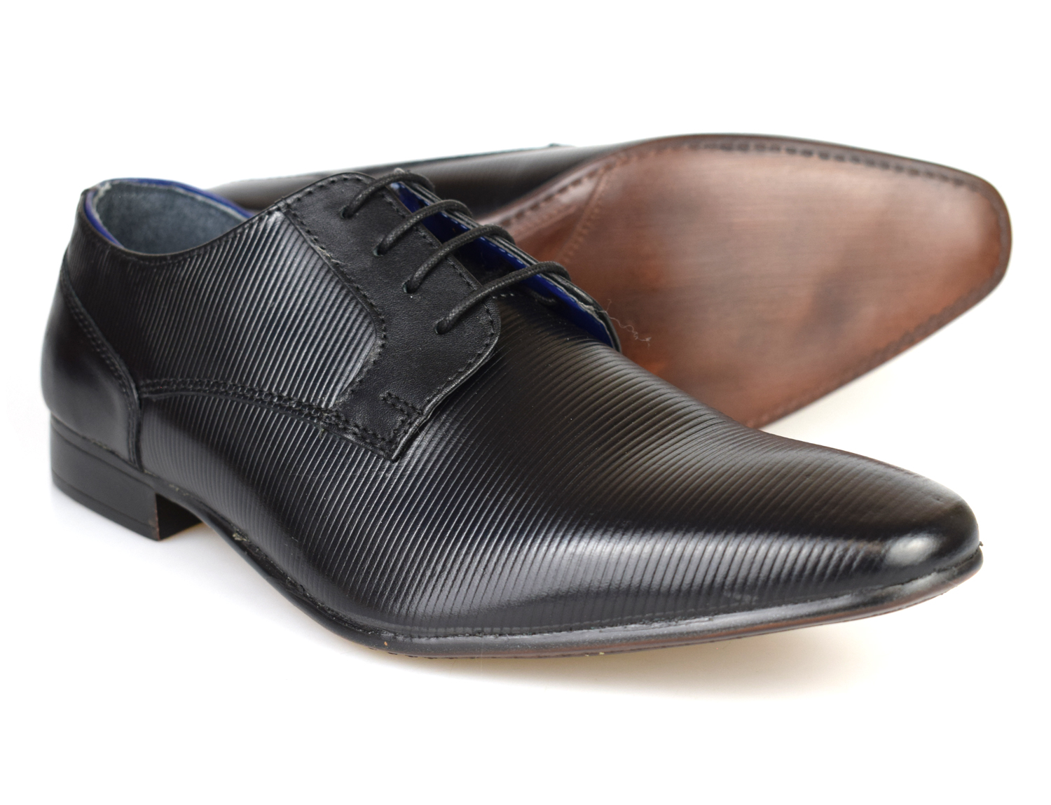 d1827fd9ad9 Details about Silver Street London Brook Mens Black Leather Formal Shoes