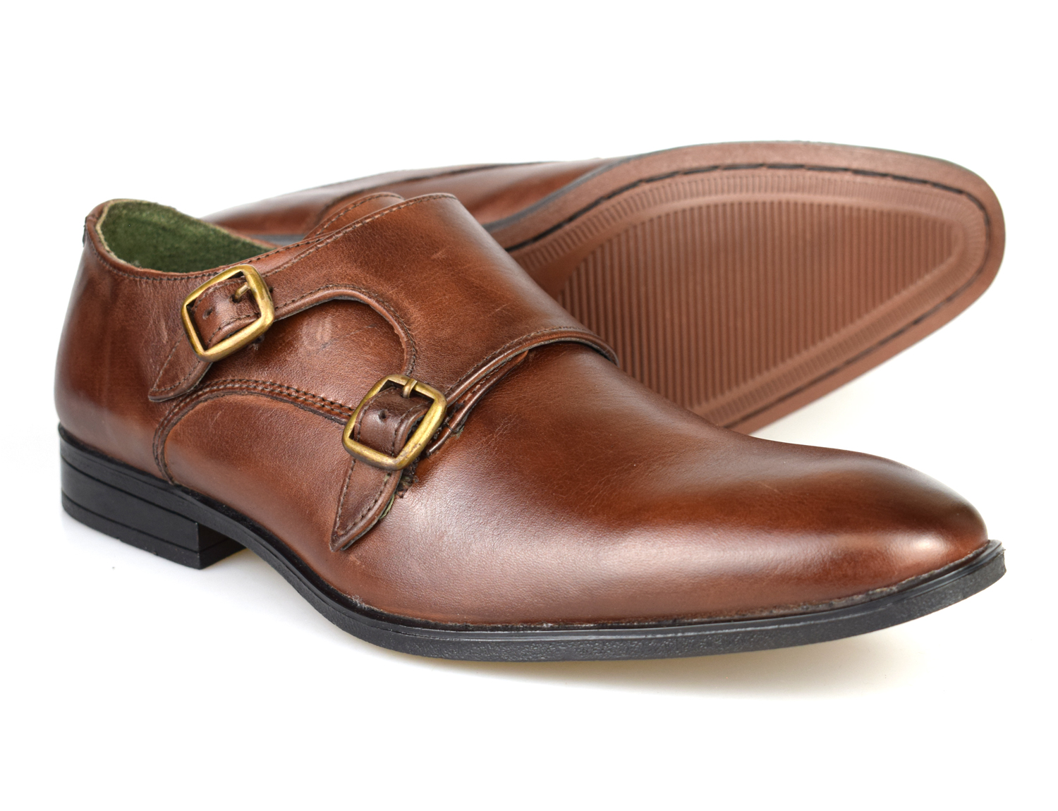 Silver Street London Bourne Brown Leather Formal Monk Shoes