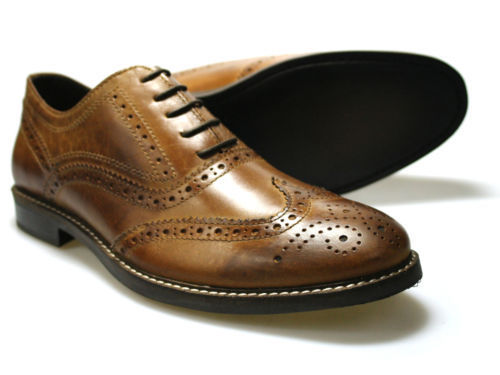Mens Red Tape Backford Brown Leather Smart Lace Up Brogue Shoes Size UK 7-12