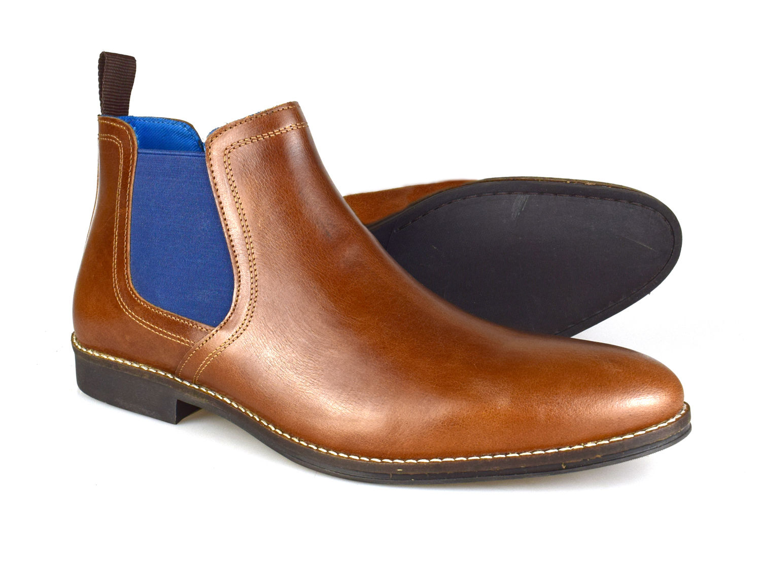 Blue Leather Chelsea Boots RRP £50 Free UK P/&P! Red Tape Stockwood Tan