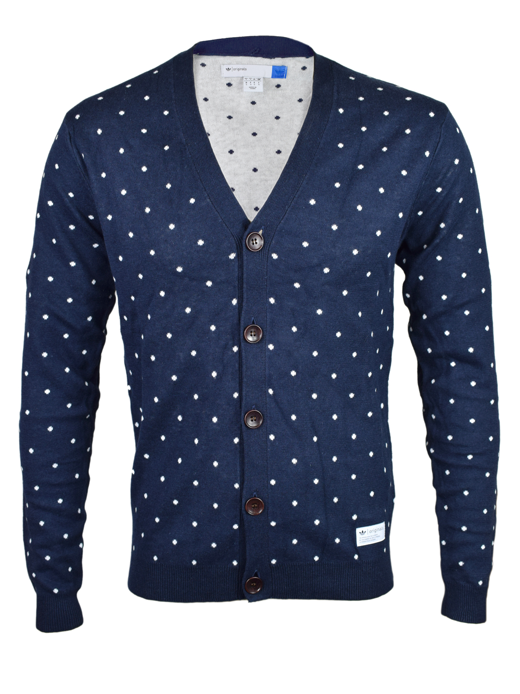 Adidas Originals Mens Navy Blue Cardigan Pullover F50177 | eBay