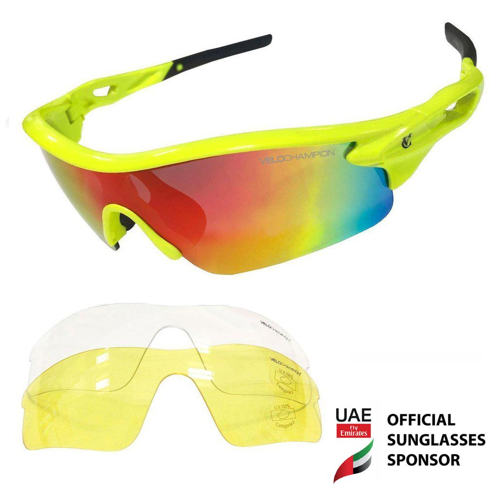 VeloChampion Warp Fluoro Yellow Frame Radfahren Sonnenbrille (mit 3 ...