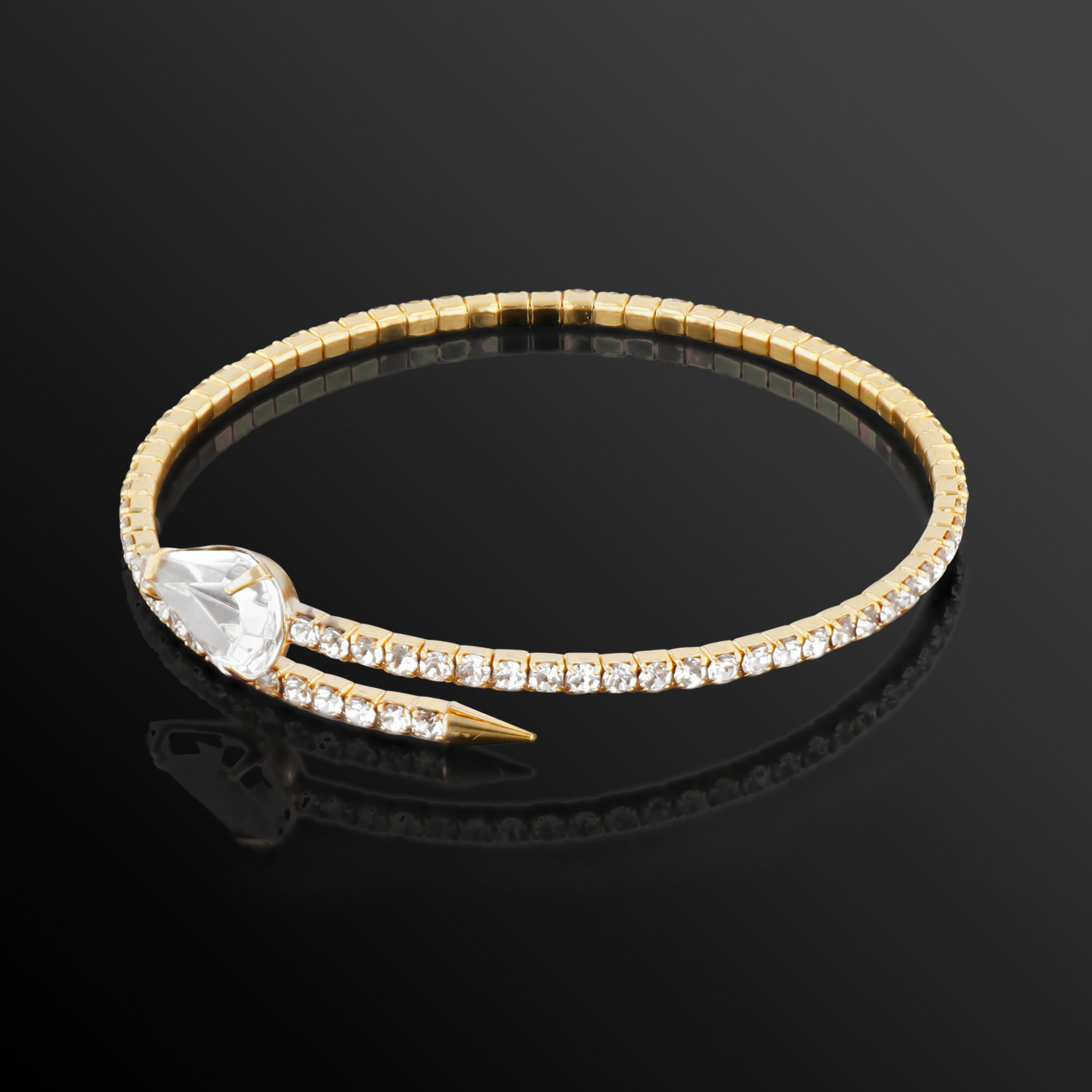Womens-Ladies-Fashion-Accessories-Jewelry-Single-Crystal-Spear-Bangle-Bracelet thumbnail 10