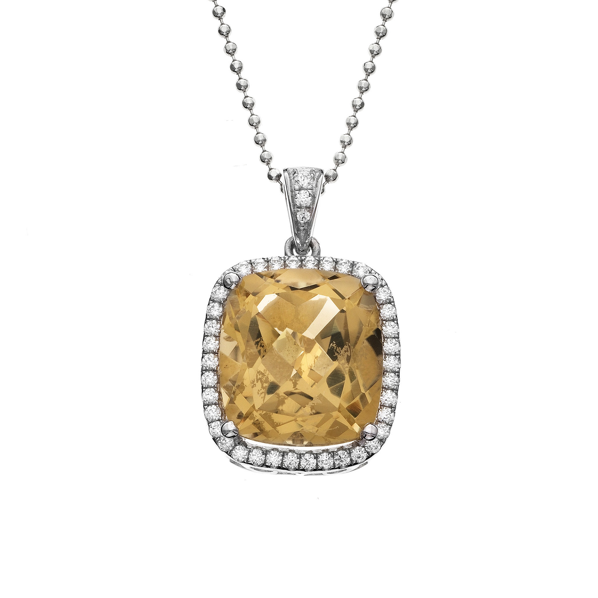 gold set halo in pendant necklace diamonds topaz and blue white cut cushion with ladies diamond