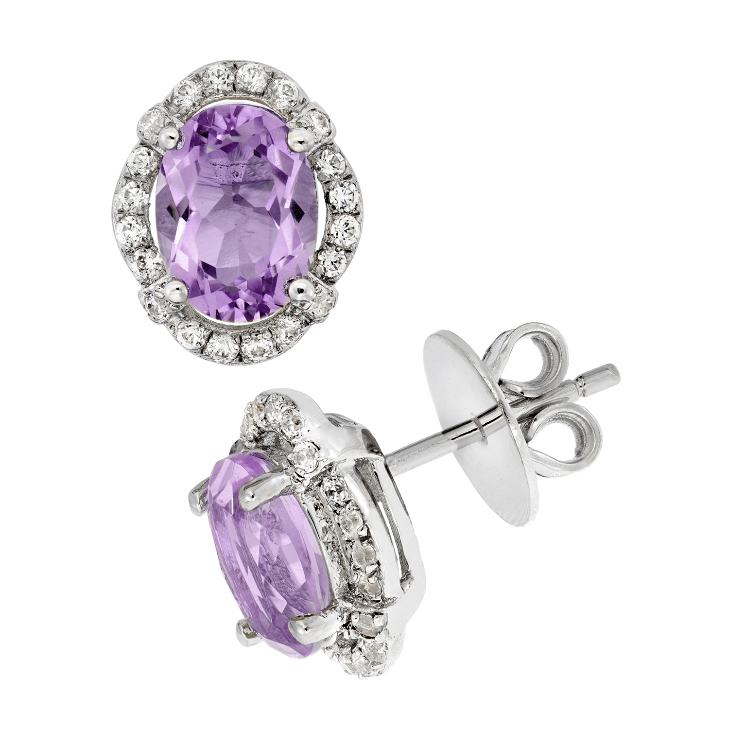 Platinum-Plated-Sterling-Silver-Oval-Double-Cut-Gemstone-Pave-CZ-Earring