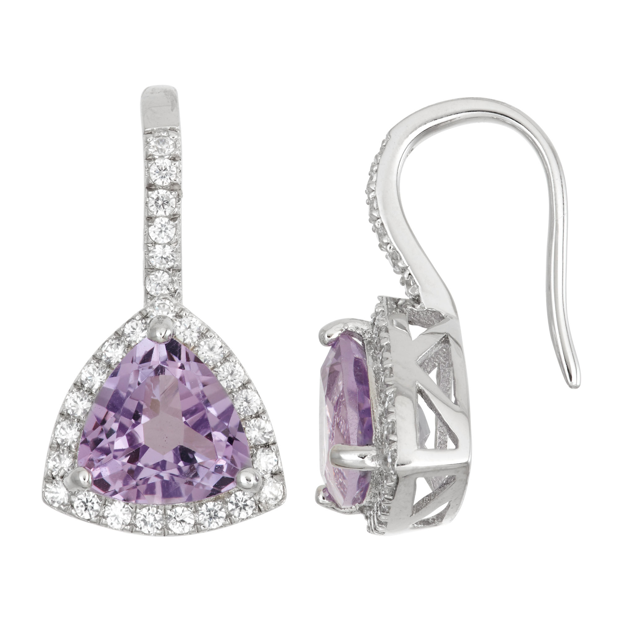 Sterling-Silver-Earring-with-7mm-Trillion-Cut-Gemstone-and-Gallery-of-Dalloz-CZ