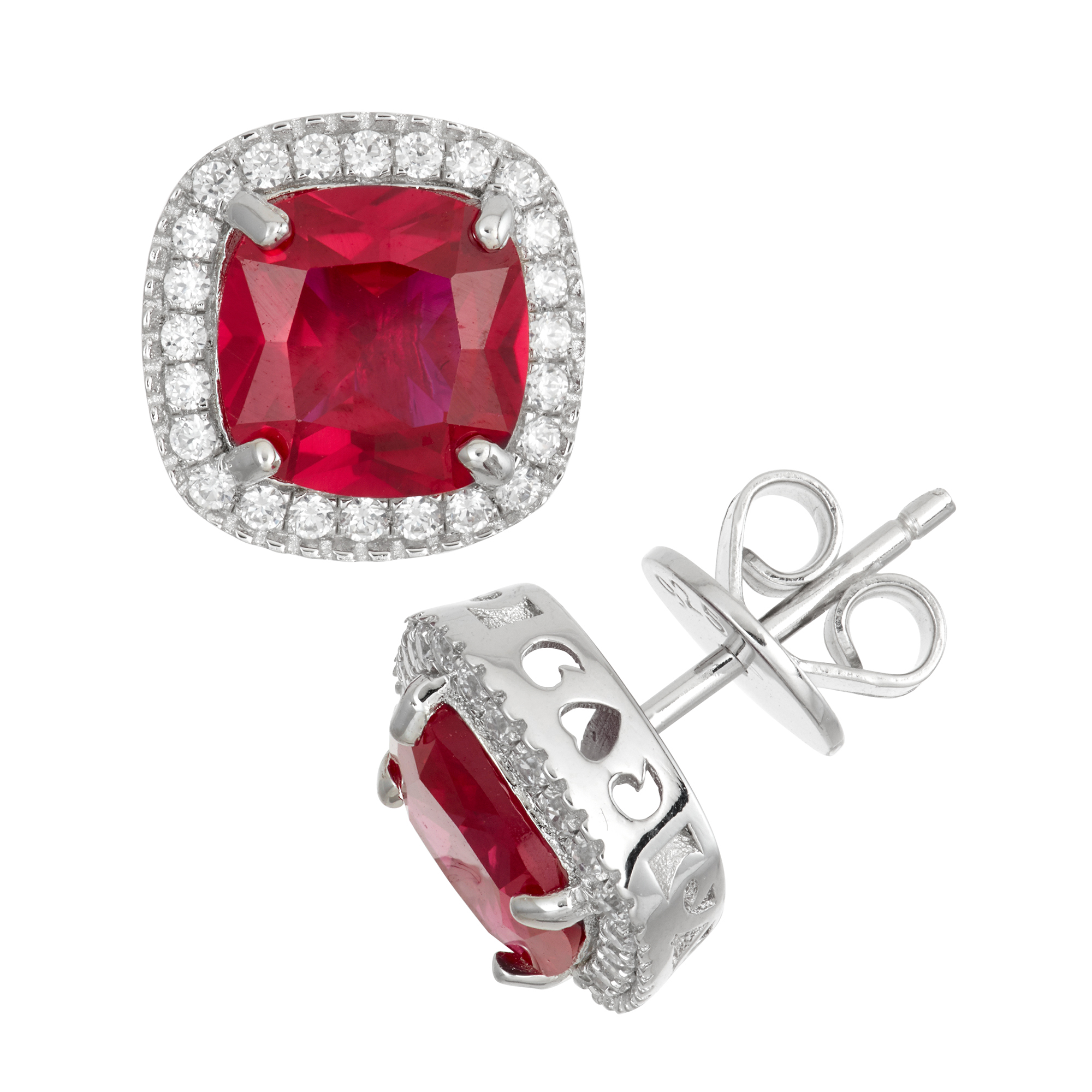 Sterling-Silver-Earring-with-Square-Faceted-Gemstone-and-Gallery-of-Dalloz-CZ