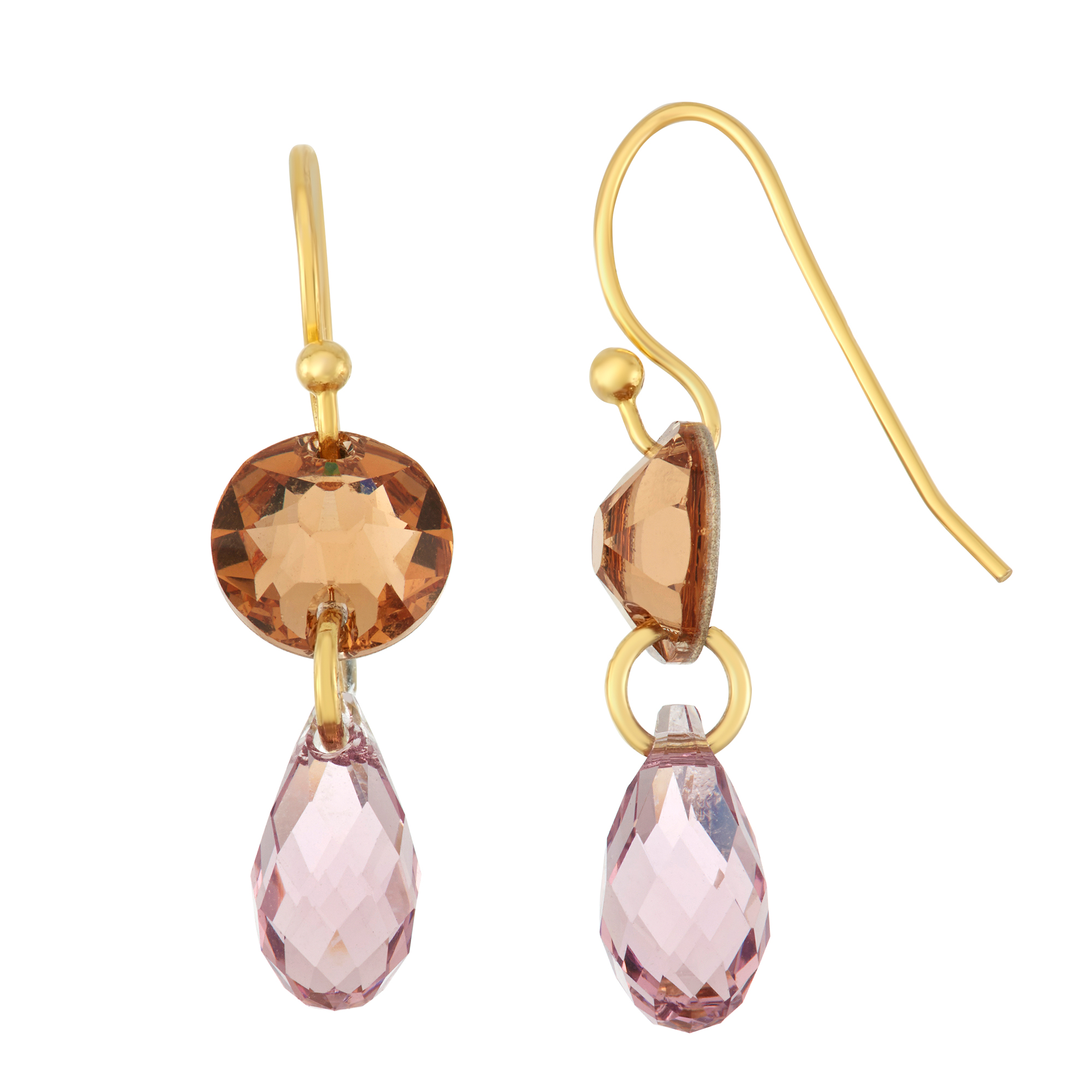 fe82acffb Details about 14K Gold Plated Circle & Pear Drop Earring w/ Choice of Color  Swarovski Crystals