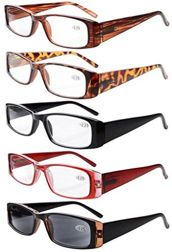 ee1eacb64d5c Eyekepper 5-Pack Spring Hinges Rectangular Reading Glasses Sun ...