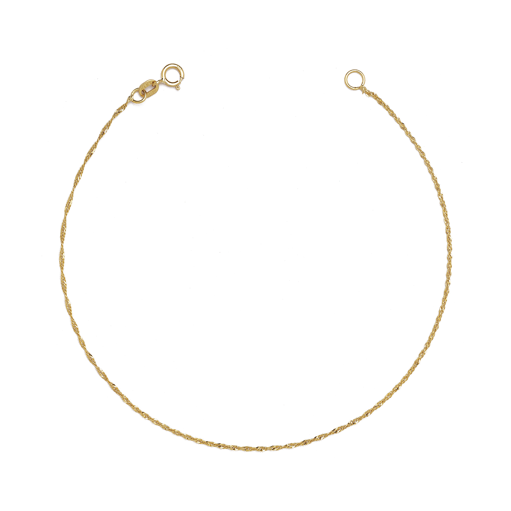 Thin Gold Chain Bracelet: 10K Fine Gold Ultra Thin Singapore Chain Bracelet And