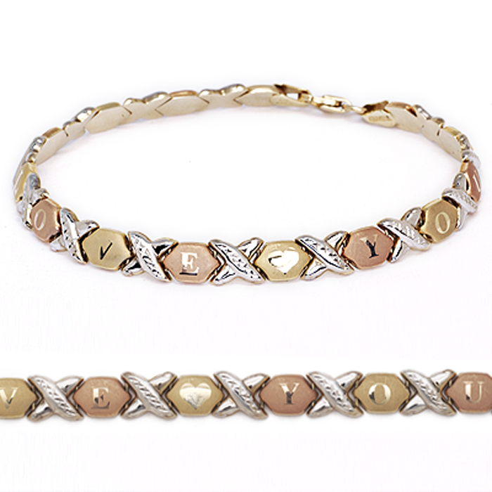 """Xoxo Gold Bracelet: 10k Fine Gold Stampato Xoxo Hugs And Kisses """"I Love You"""