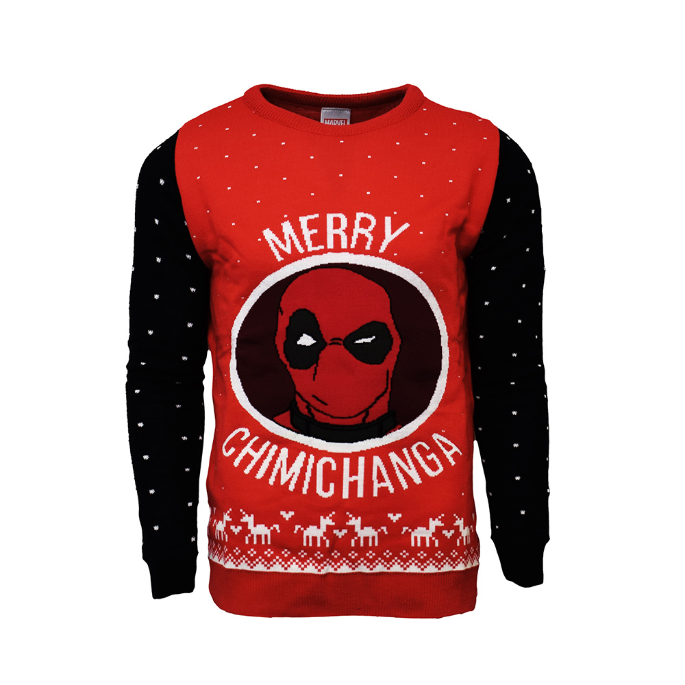 Official Marvel Deadpool Merry Chimichanga Christmas Jumper / Ugly Sweater -uk L/us M