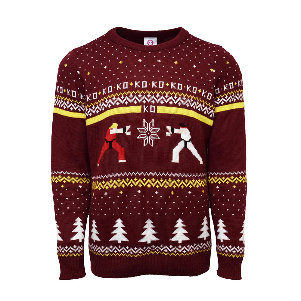 Official Street Fighter Ken Vs. Ryu Christmas Jumper / Ugly Sweater Uk M/us S