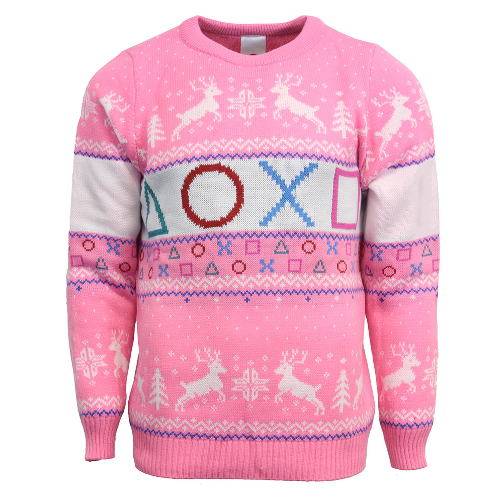 Official Playstation Pink Christmas Jumper / Ugly Sweater - Uk Xs/us 2xs