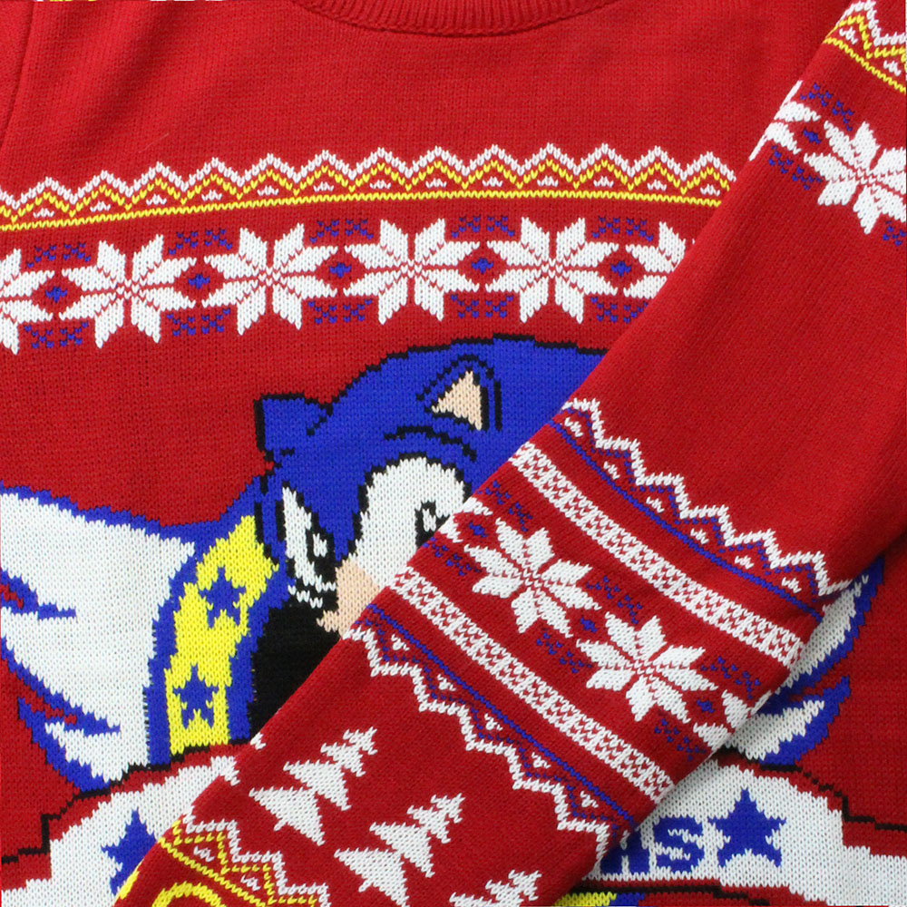 Classic Sonic The Hedgehog Official Unisex Red Christmas Xmas Jumper