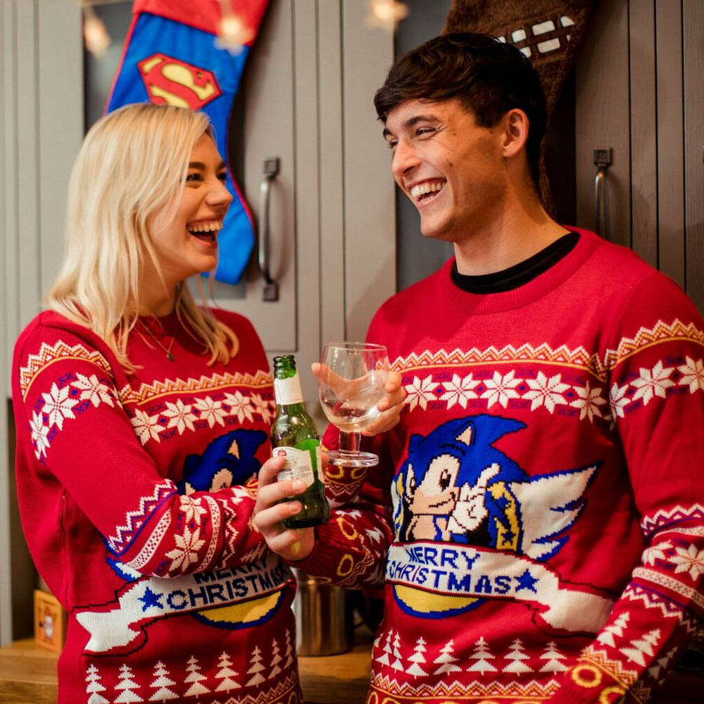 Classic-Sonic-the-Hedgehog-Official-Unisex-Red-Christmas-Xmas-Jumper-Sweater