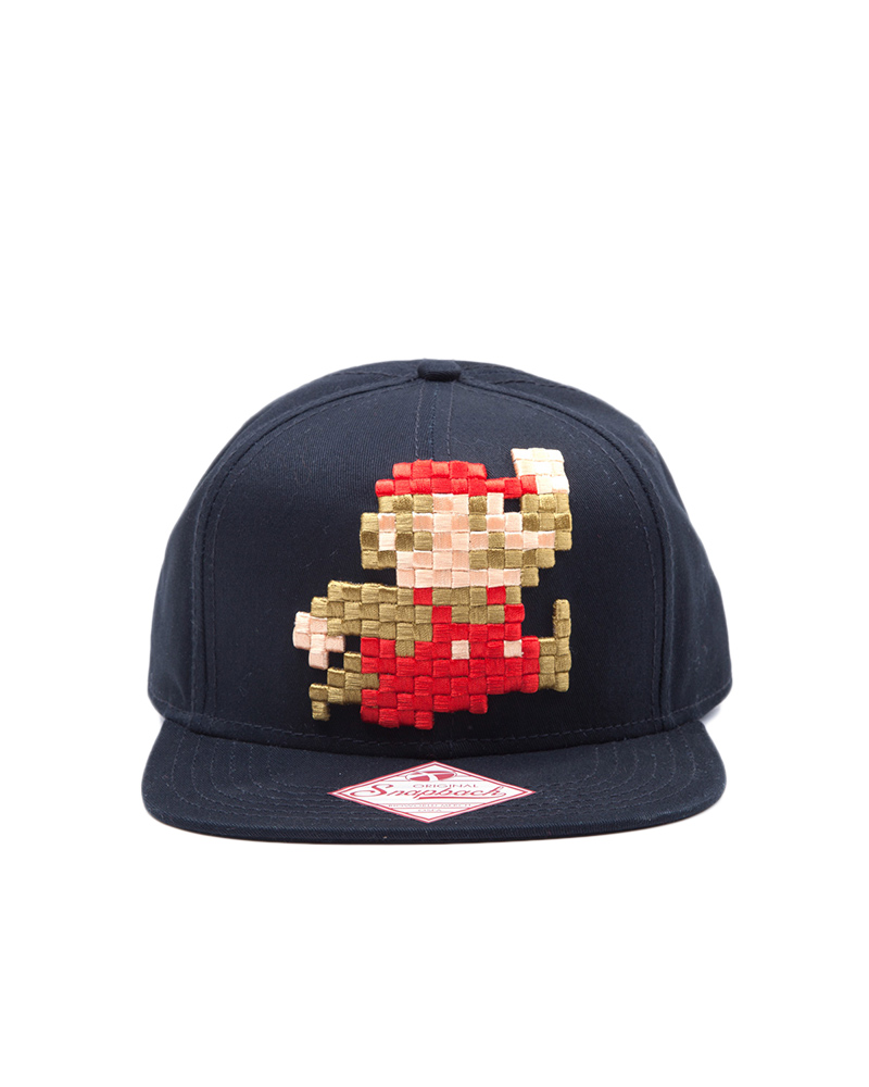 Official Super Mario Pixel Jumping Mario Snapback   Cap ... e49ef86999ee