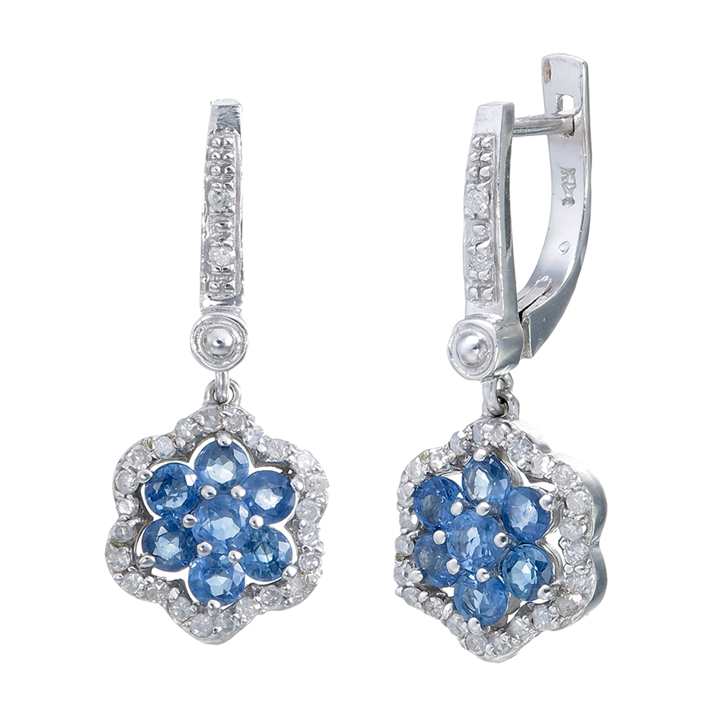 fb57c1cf2 Details about 1.10 CT Blue Sapphire and Diamond Earrings in 14K White Gold