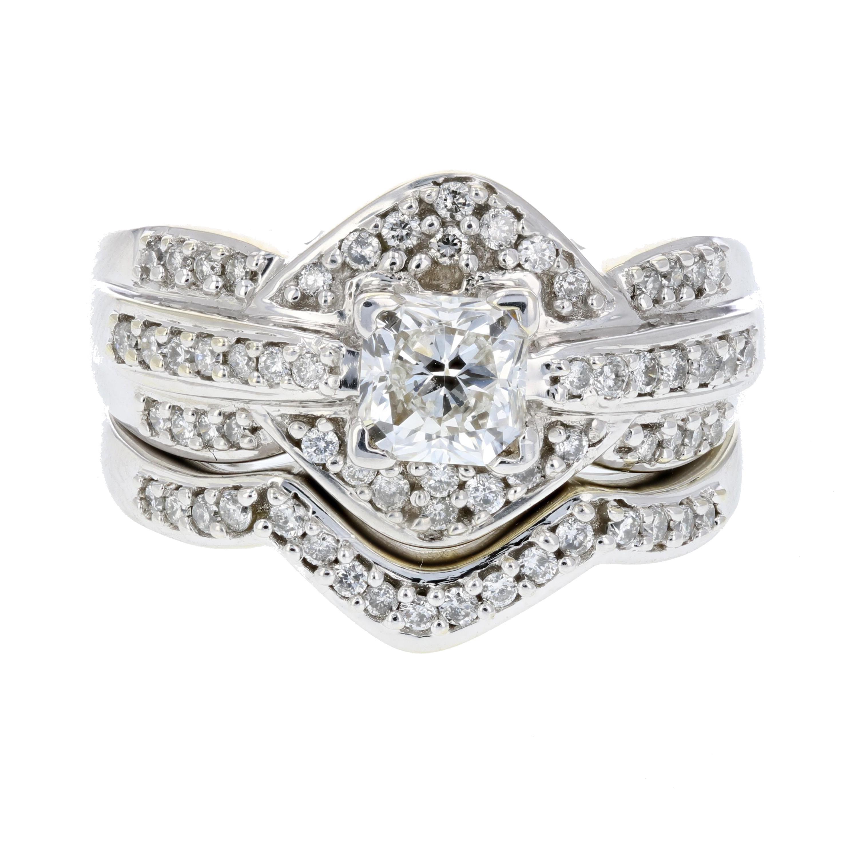8faa4512379 Details about Certified 1.43 CT VS2 Clarity Princess Cut Diamond Bridal Set  14K White Gold