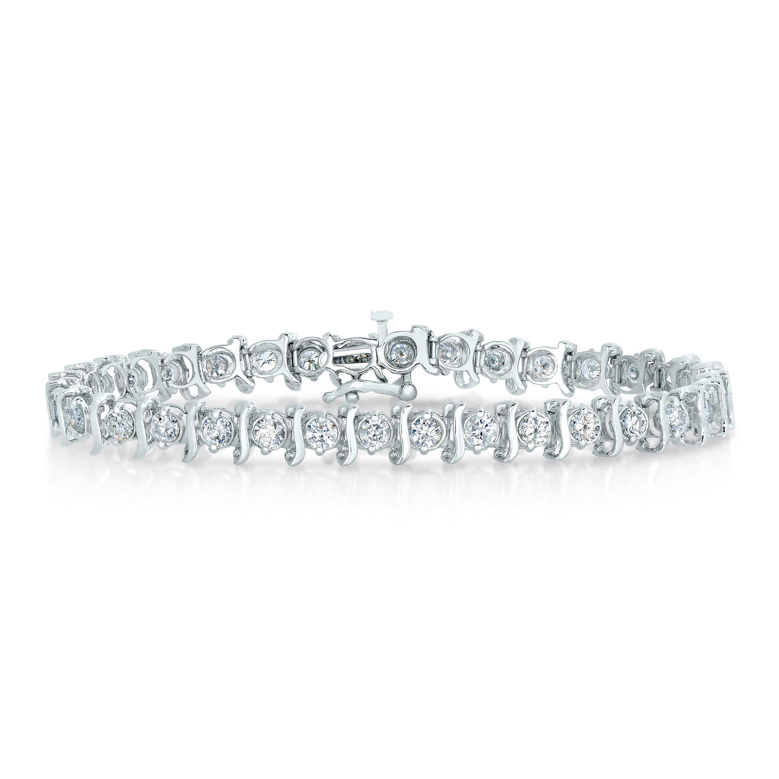 4 Ct Ags Certified Si2 I1 14k White Gold Diamond Bracelet L M Ebay