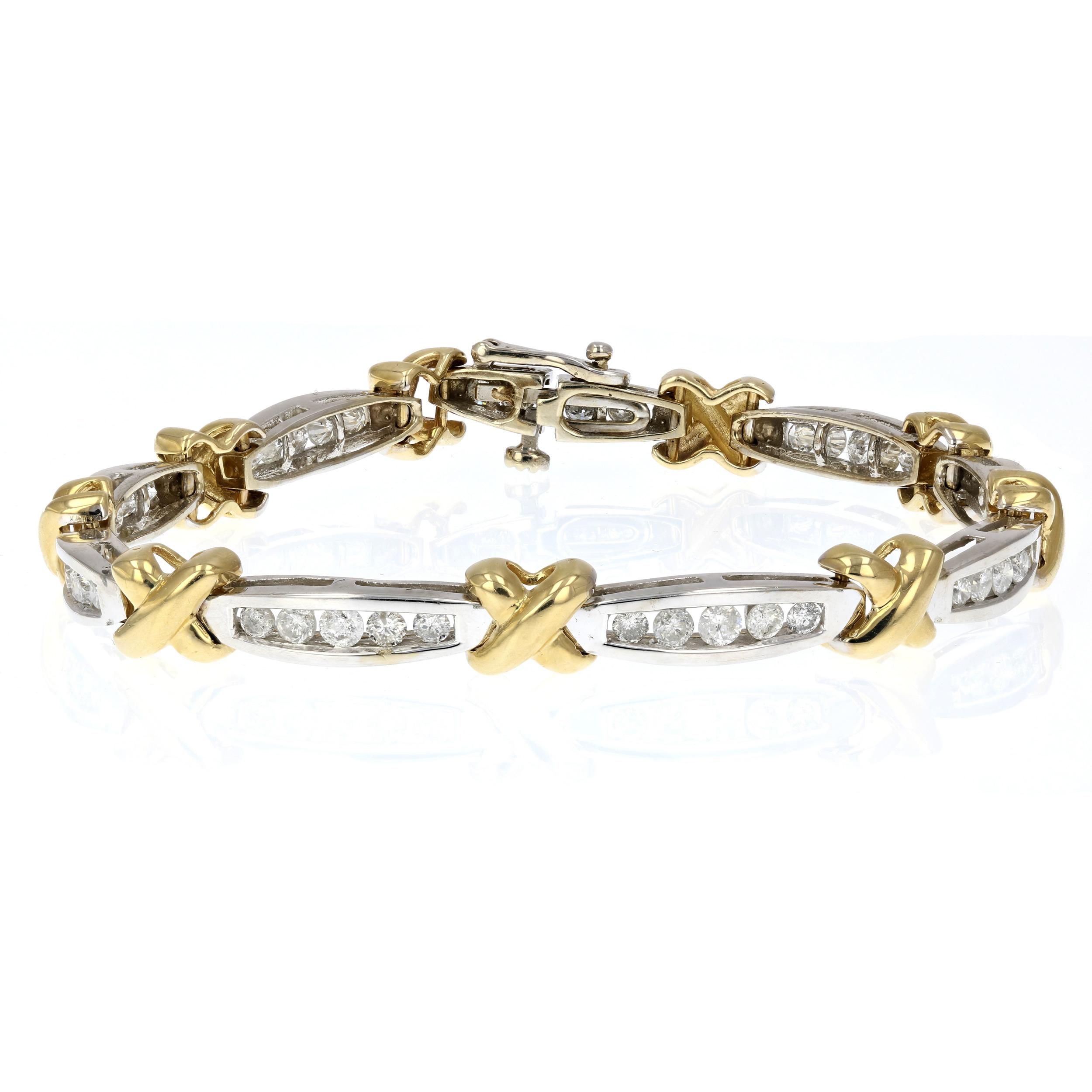 2 CT Diamond Tennis Bracelet in 14K Yellow Gold | eBay