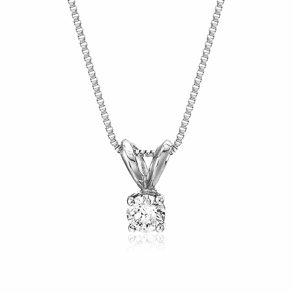 6c1754502089f Details about AGS Certified 14k White Gold Round-Cut Diamond Pendant  Necklace (1 5 cttw)