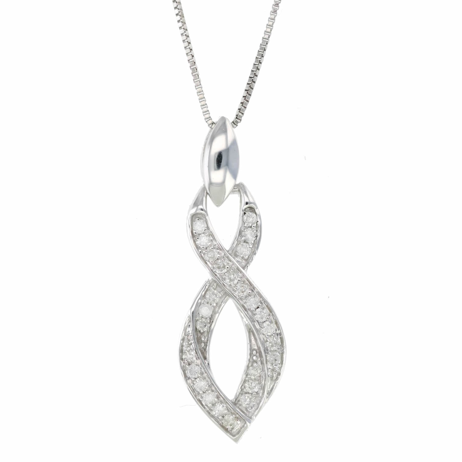 219105e60 Details about 1/5 cttw Diamond Geometrical Infinity Pendant 10K White Gold  with 18 Inch Chain
