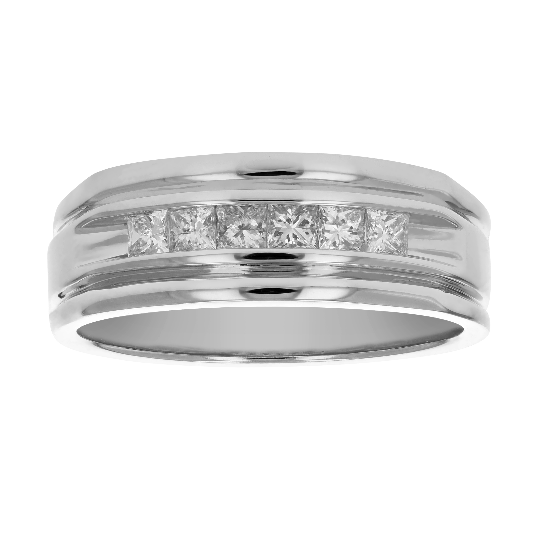 f9e8a1f368 1/2 CT Men's Diamond Wedding Band 14K White Gold Size 10 | eBay