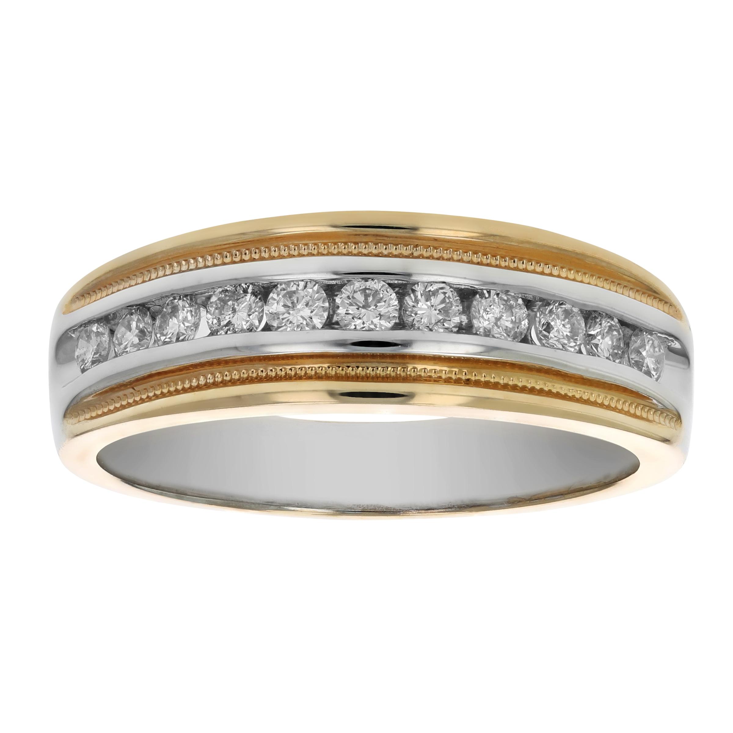 2f748c50fe 1/2 CT Men's Diamond Wedding Band 14K White and Yellow Gold Size 10 ...