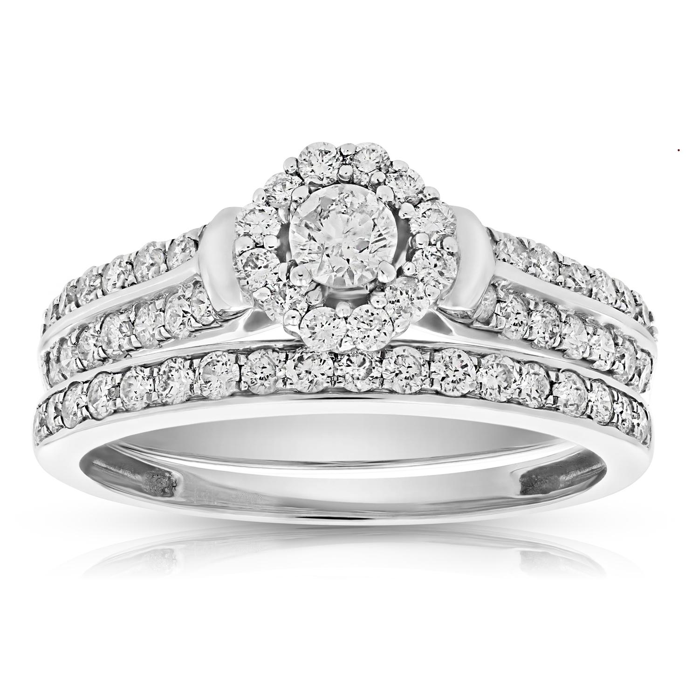 1 Cttw Diamond Halo Cluster Wedding Engagement Ring Set 14k White Gold Bridal Ebay