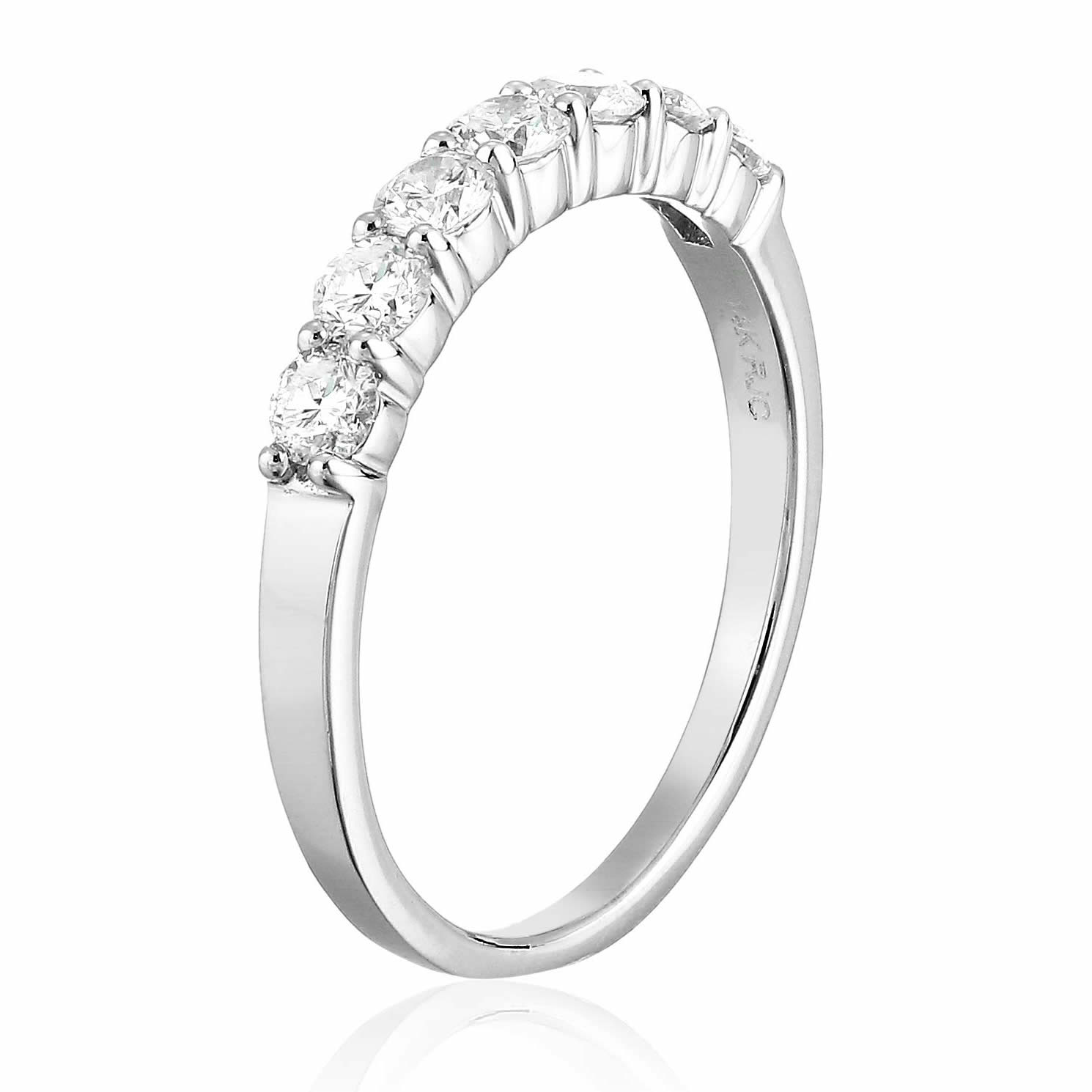 1-2-cttw-Certified-SI1-SI2-7-Stone-Diamond-Wedding-Band-14K-Gold