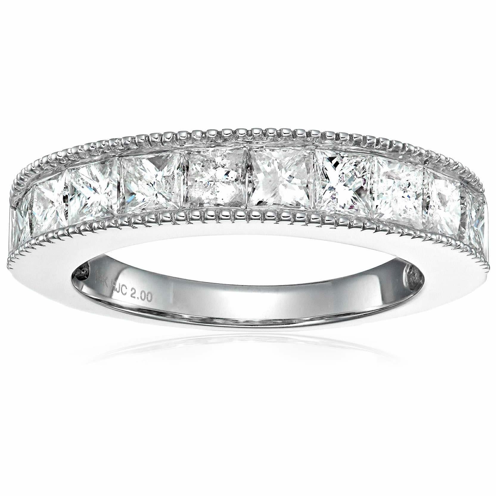 14k White Gold 3.5 CT Princess Cut Diamond Engagement Wedding Milgrain Ring