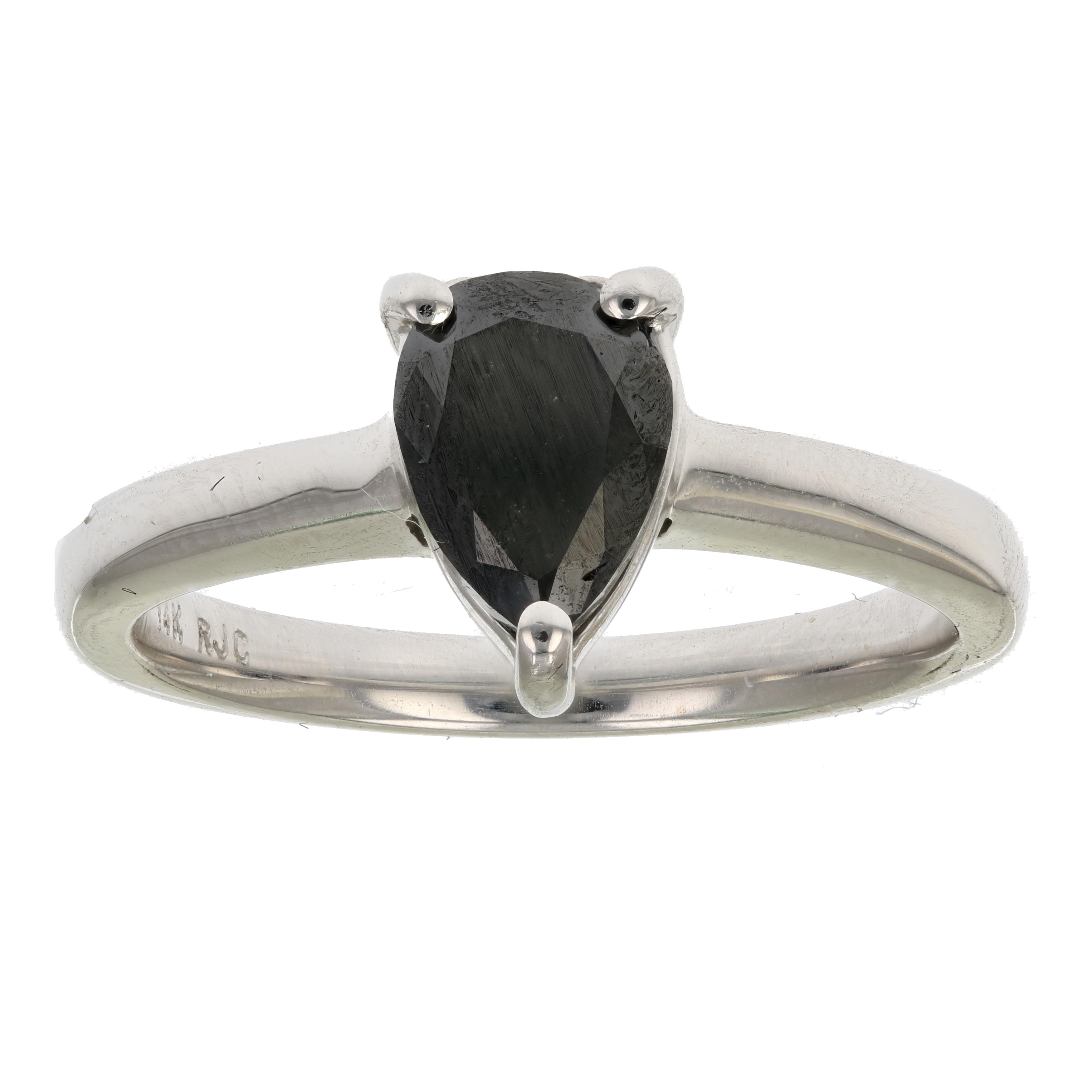 1 4 ct black diamond solitaire ring pear shape 14k white. Black Bedroom Furniture Sets. Home Design Ideas