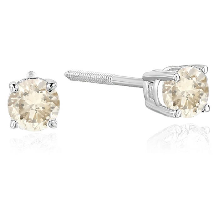 Diamond 2/3 CT Champagne Diamond Stud Earrings 14k Gold